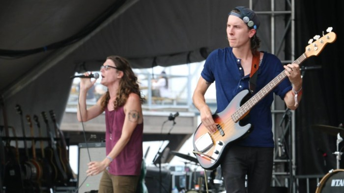 Cyle Barnes, left, and Damien Bone, right, of The Weeks perform at the Forecastle Festival in Louisville, Kentucky on Sunday, July 20, 2015. (MTSU Sidelines / John Connor Coulston)