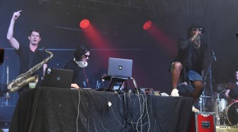 Big Gigantic's Dominic Lalli, Skrillex and A$AP Ferg perform at the 2014 Bonnaroo Music and Arts Festival during the early morning hours of Sunday June 15, 2014. It was apart of the Skrillex-curated Superjam that has been turned intoa documentary series on AT&T U-verse. (Photo courtesy of AT&T U-verse)