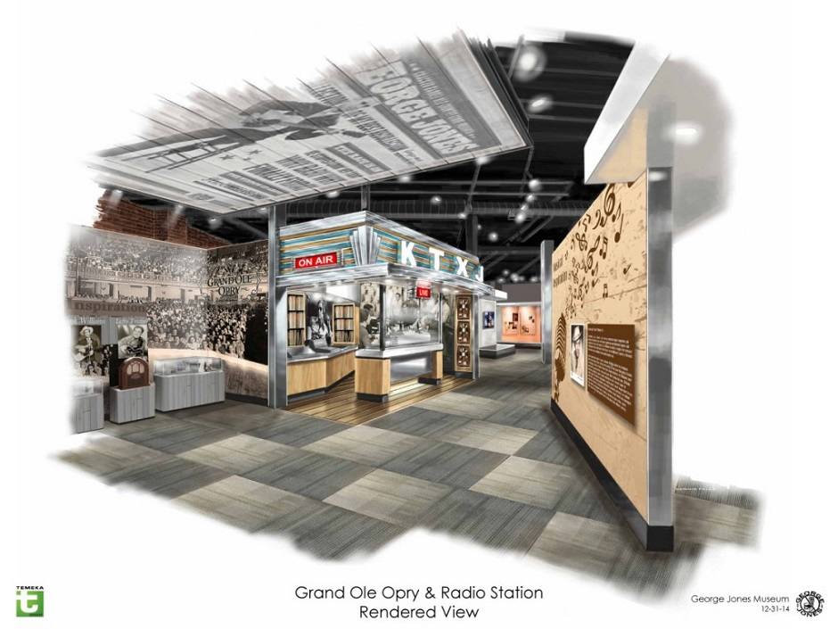 Concept art shows the Grand Ole Opry and Radio Station exhibits inside the George Jones Museum. The museum will open April 24, 2015 at 128 Second Avenue North in Nashville, Tenn. (FILE/George Jones)