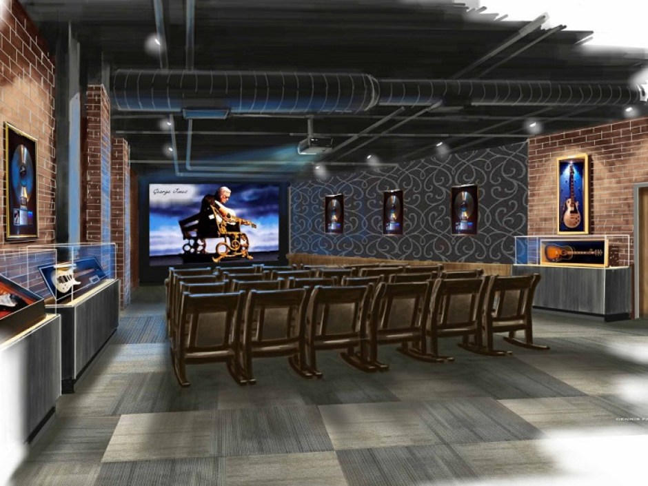 Concept art shows the George Jones Theater inside the George Jones Museum. The museum will open April 24, 2015 at 128 Second Avenue North in Nashville, Tenn. (FILE/George Jones)