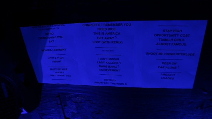 Hip-hop artist G-Eazy's setlist for his Saturday, January 24, 2015 performance at Marathon Music Works in Nashville, Tenn. He will return to Middle Tennessee in June to play the 2015 Bonnaroo Music and Arts Festival. (John Connor Coulston / MTSU Sidelines)