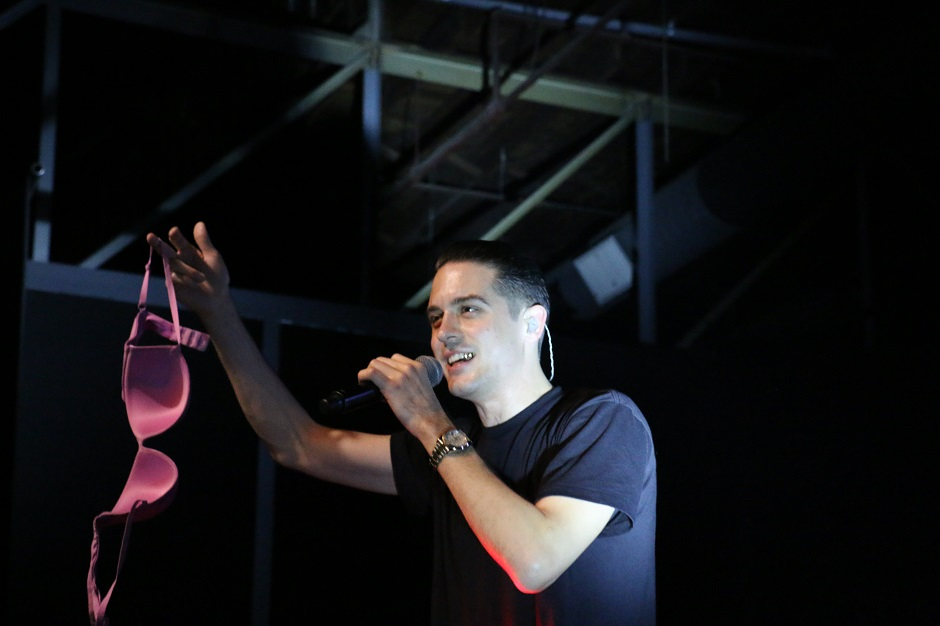 Hip-hop artist G-Eazy holds up a fan's bra that was thrown on stage during his performance at Marathon Music Works in Nashville, Tenn. on Saturday, January 24, 2015. He will return to Middle Tennessee in June to play the 2015 Bonnaroo Music and Arts Festival. (John Connor Coulston / MTSU Sidelines)