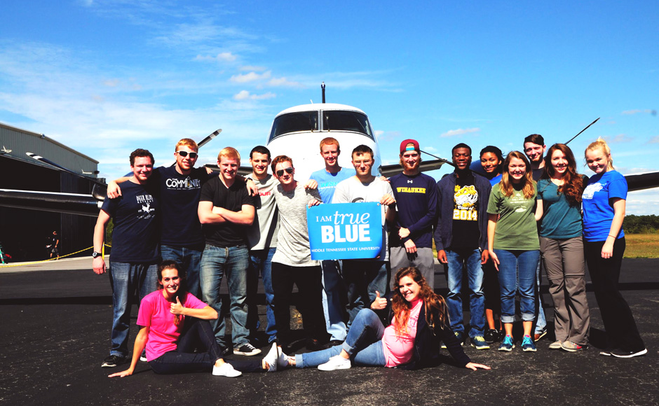 MTSU students complete the Fall 2015 skydive (Photo submitted by Connor Shepard)