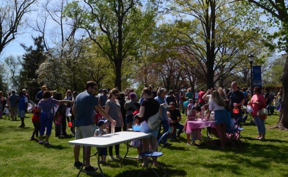 Children and their families wait for the egg hunt to begin. (Sidelines/Robin Duff)