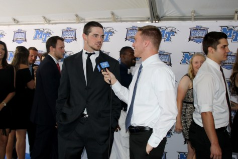 Sports Reporter Tyler Lamb (right) interviews MTSU baseball player Blake Benefield on the Blue Carpet at the Raiders' Choice Awards on Thursday, April 28, 2017. (MTSU Sidelines/Devin P. Grimes)