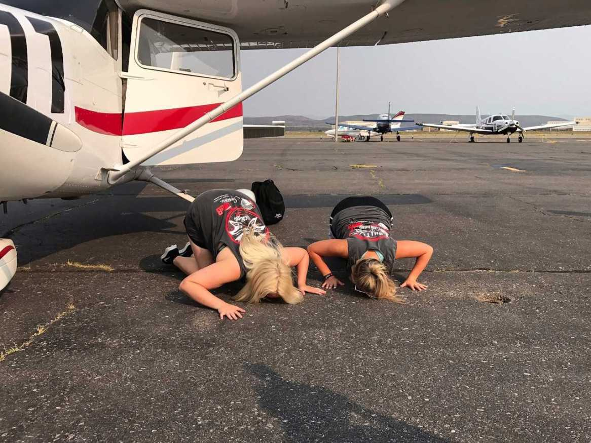 Team 77 celebrates a successful landing and are glad to be back on the ground. (Submitted: Gabriella Lindskoug)
