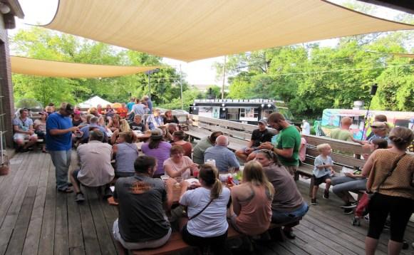 People enjoy beer, food and live music at Mayday Brewery's Folk 'N Art Festival in Murfreesboro, Tenn. on July 15, 2017. (Steve Barnum / MTSU Sidelines)