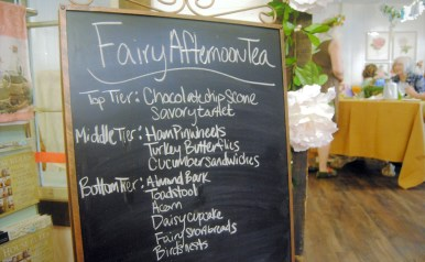 The menu offers unique treats at the Southern Charm Woodland Fairy Tea Party in Bell Buckle, Tenn. on July 8, 2017. (Meredith White / MTSU Sidelines)