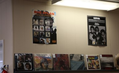 Posters are scattered throughout Waxface Records, going with their musical theme. (Krystal Loritts / MTSU Sidelines)