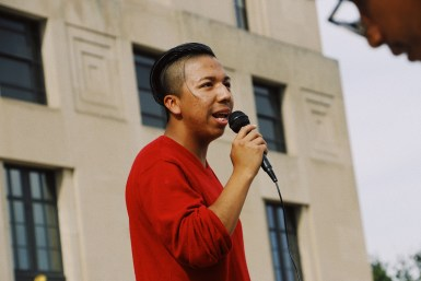 Hernan Crescencio, a Trevecca Nazarene University student and a member of the silent march organizing team, addresses the crowd at the end of the silent march in Nashville, Tenn. on Oct. 21, 2017. (Anthony Merriweather / MTSU Sidelines)