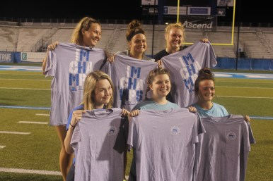 The champions of women's bubble ball, Alpha Chi Omega, celebrate with a victory picture in Murfreesboro, Tenn. on Oct. 3, 2017. (Shade Narramore / MTSU Sidelines)