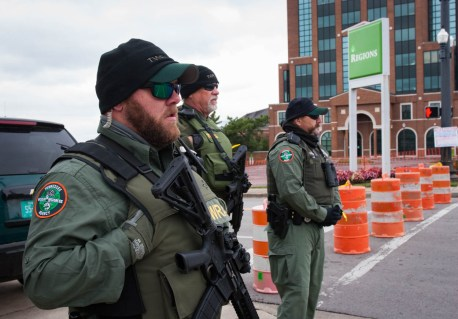 Officers stand guard before the rally is set to begin in Murfreesboro, Tenn. on Oct. 28, 2017. (Anthony Bukengolts / MTSU Sidelines)