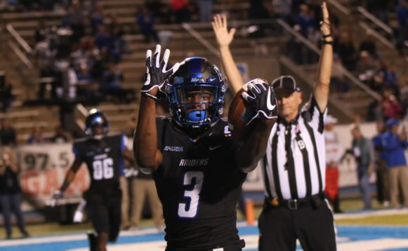 Richie James celebrates his touchdown against Marshall on October 20, 2017 in Murfreesboro, TN (Devin P. Grimes/MTSU Sidelines).