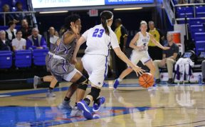 Gabby Lyon dribbles the ball against Trevecca in the Murphy Center on Nov. 2, 2017 in Murfreesboro, Tenn. (Devin P. Grimes / MTSU Sidelines)