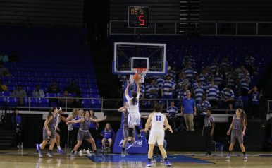 Gabby Lyon goes up for a floating layup against Trevecca in the Murphy Center on Nov. 2, 2017 in Murfreesboro, Tenn. (Devin P. Grimes / MTSU Sidelines)