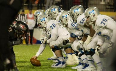 The Middle Tennessee offensive line lines up for a play against Arkansas State on Dec. 16, 2017, in Montgomery, Ala. (Andrew Brown / MTSU Sidelines)