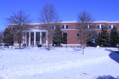 Snow and ice covers the area in front of the Business and Aerospace Building on campus on the first day of school on Jan. 18, 2018, in Murfreesboro, Tenn. (Andrew Wigdor / MTSU Sidelines)