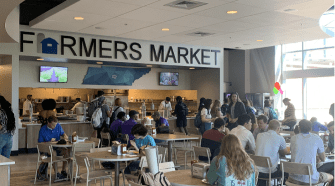 Students eat in the new dining hall Farmers Market.
