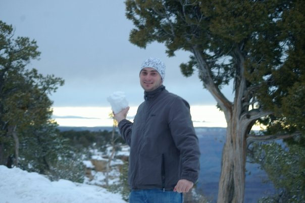 TW's first overseas trip. Snow at the grand canyon