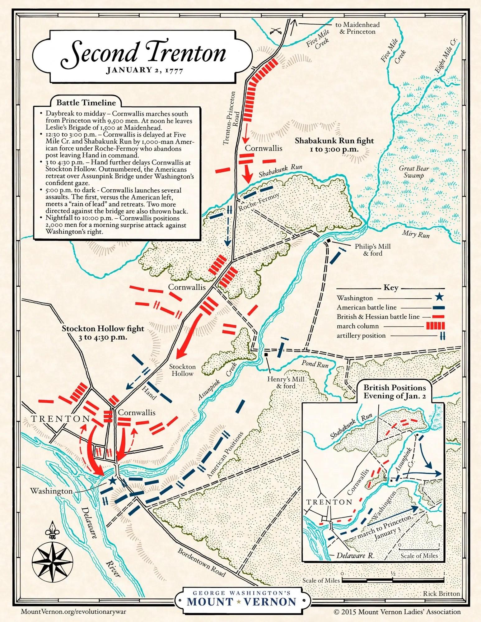 Map Battle Of Second Trenton George Washington S Mount