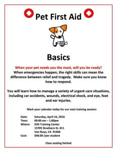 Flyer for Pet First Aid Class 4/16/16