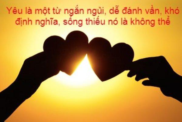 Yêu là một từ ngữ dễ đánh vần, khó định nghĩa ...