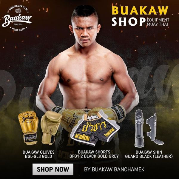 Buakaw Banchamek Gear Gold Shorts And Gloves