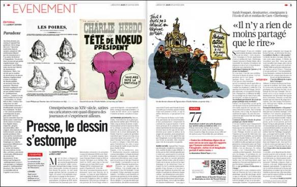 A spread featuring Charlie Hebdo artists; pic: Libération