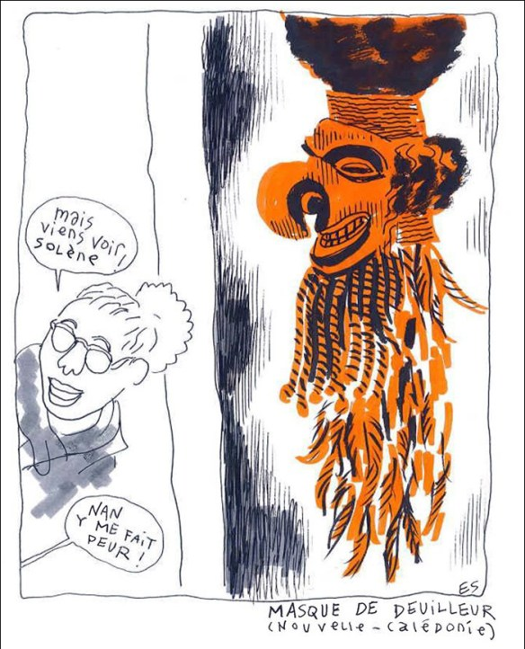 """Come and look Solène!""...""Nan, it's scary there!""...Mourning Mask, New Caledonia; drawn by Erwann Surcouf"