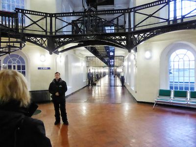 Looking into a cell block at the Crumlin Road Jail Belfast
