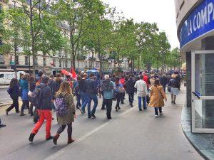Labor protest marchers arriving