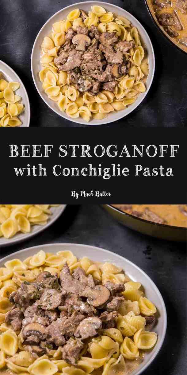 Beef Stroganoff with Conchiglie Pasta