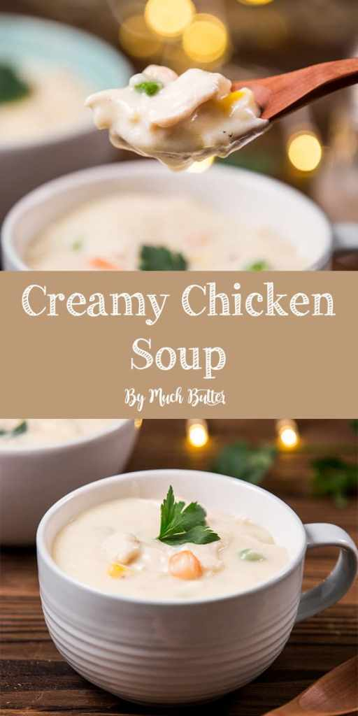 Warm creamy chicken soup is perfect to comfort your body in cold weather. The soup brings warmth to our body and soul, makes your cold nights warmer.