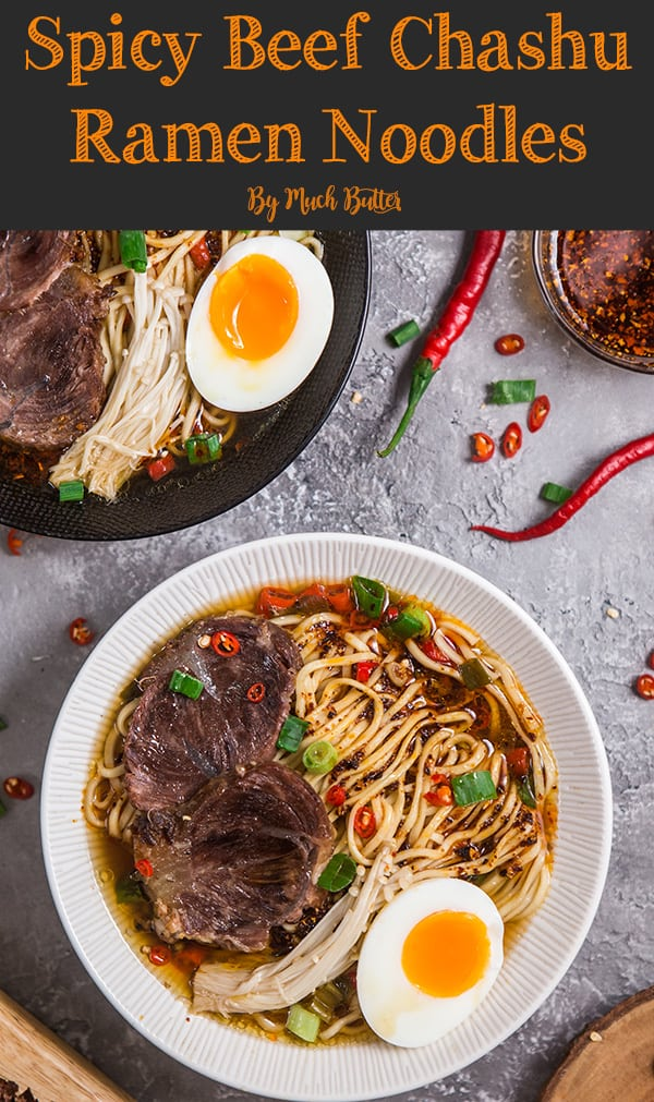 This spicy beef chashu ramen noodles recipe is alternative for people who eat halal or kosher food but want to enjoy delicious ramen. No pork, no lard and no alcohol.