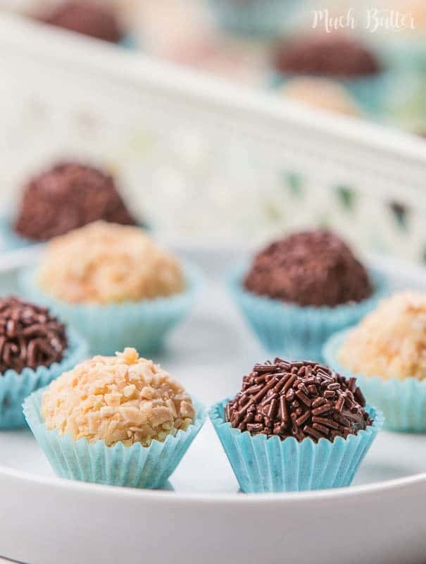 Almond and chocolate brigadeiro is Brazilian dessert that popular on kids birthdays. It's very simple to make and less than 5 ingredients.