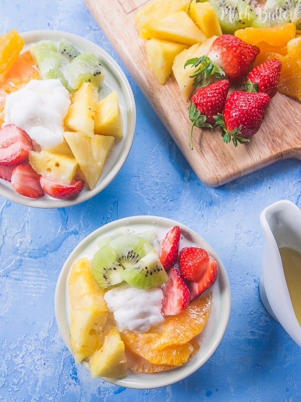 Fruits shaved ice milk is refreshing yet creamy summer dessert. Inspired by Korean dessert (bingsu), it's easy to make at home.
