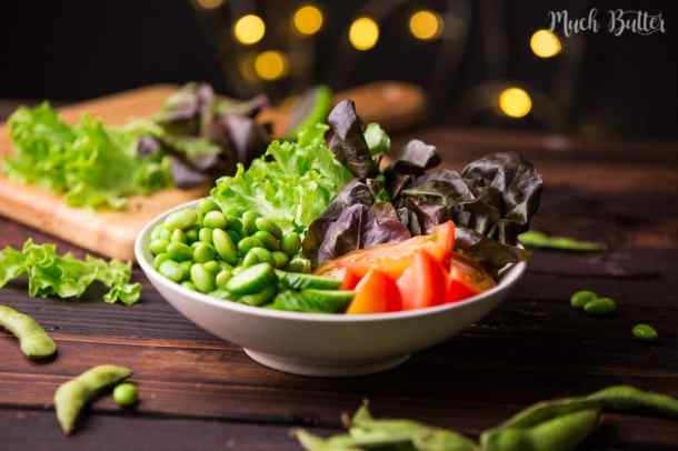 Edamame salad is an Asian inspired salad served with sesame dressing. It's crunchy, healthy, and nutty!