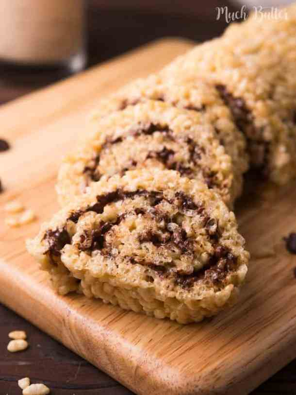 Rice crispy chocolate rolls are snacks that non-sweet-tooth will like. Rolled and cut like sushi. This would be one of your favorite snacks!