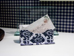 """I made this cute little business card holder - Watched a video on YouTube """"How to make business card holder"""""""