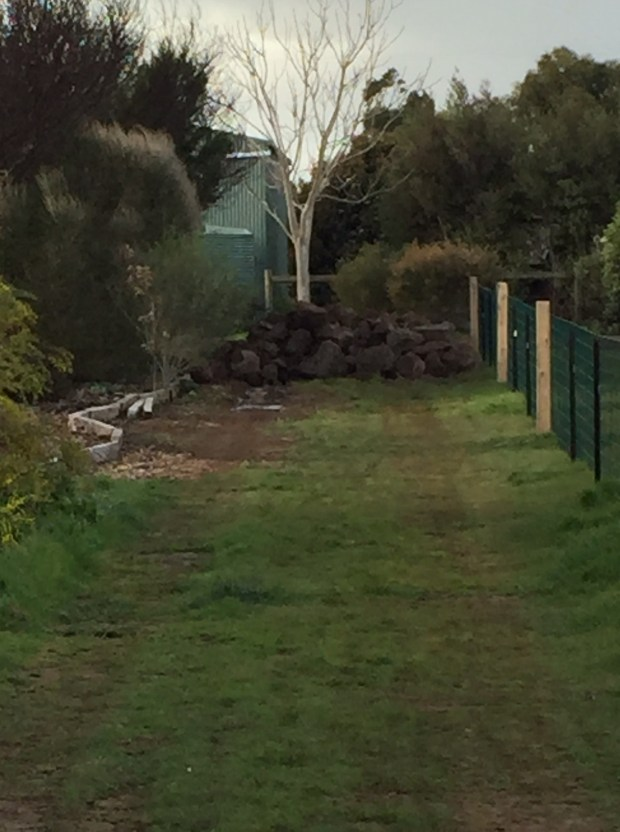 Pond rocks in driveway