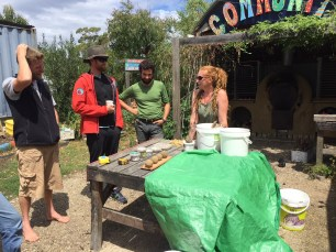 Clare teaching the components of cob