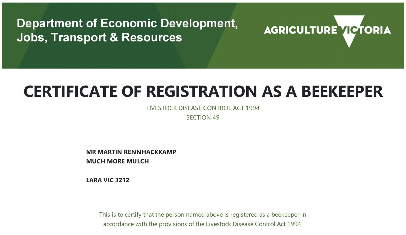 Bees – Beekeeper certificate