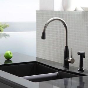 Kraus Double Bowl Sink Granite Black