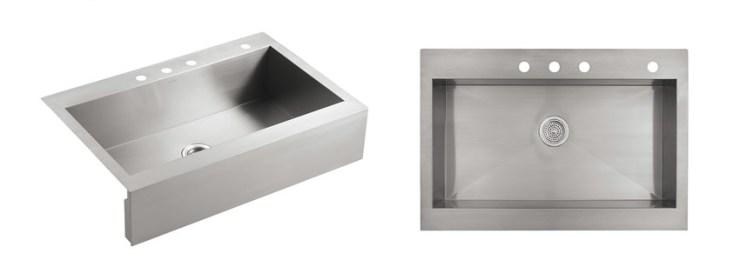 KOHLER K NA Vault Top Mount Single Bowl Kitchen Sink with Shortened Apron-Front