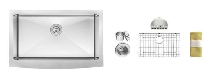 Zuhne Inch Farmhouse Apron Deep Single Bowl Gauge Stainless Steel Luxury Kitchen Sink