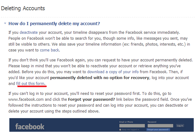 how to permanently delete facebook account forever