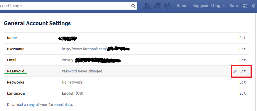 how to know the password of facebook account