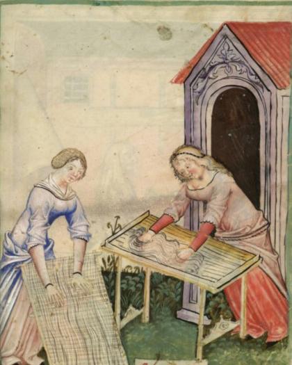 Making Pasta. From The Tacuinum Sanitas , Late 14th century.