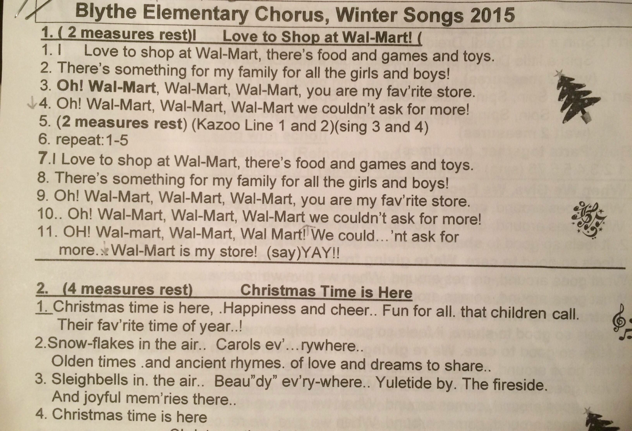 Wal-Mart song is featured in elementary school Christmas sing?