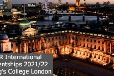 PGR International Studentships 2021/22 at King's College London: (Deadline 1 October 2021)